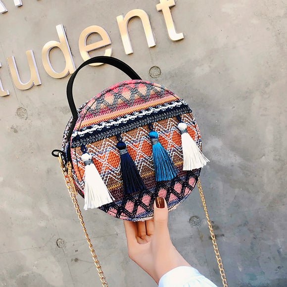 2019 Women Handbag Shoulder Bags Beach Bag Summer Chain Small Round Bag Tassel Chain Ladies Crossbody Bag Soft Circle Bohemia