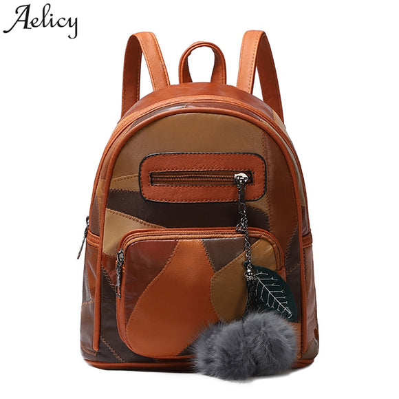 Aelicy women Backpack @ Leisure Retro girls School Bag leather fashion Satchel Travel Ladies Backpack mochila feminina drop ship