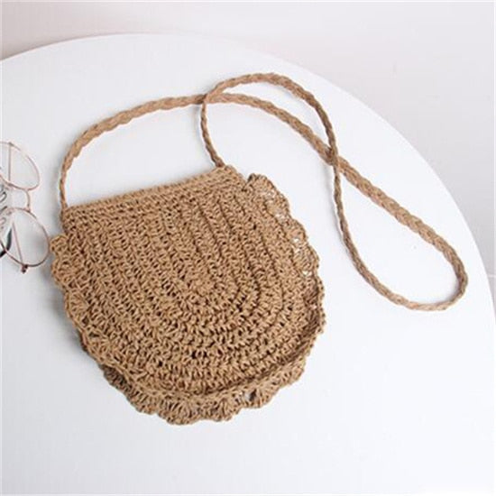 2019 Straw Bags Women Summer Rattan Bag Handmade Woven Beach Tote Bags Crossbody Shoulder Bag Bohemia Girls Handbag Bali Travel