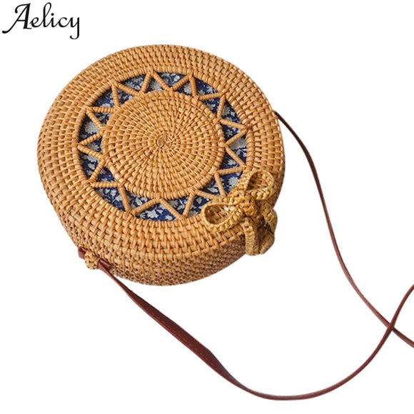 Aelicy Circle Handwoven Bali Round Retro Rattan Straw Shoulder Bags Clutch Bag For Women Messenger Bags Handbag Beach Bag