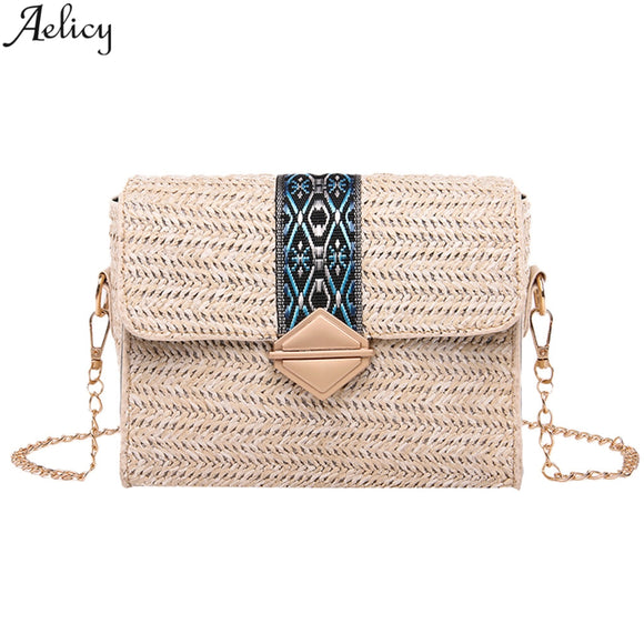 Aelicy Women's Fashion Vintage Linen Straw Messenger Bag Lady Fashion Versatile Simple Style Beach Traveling Crossbody Bag New