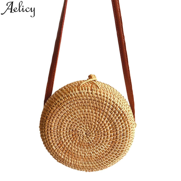 Aelicy Fashion Women Circle Handwoven Bali Round Retro Rattan Straw Beach Bag crossbody shoulder bags Handbag Messenger Bag