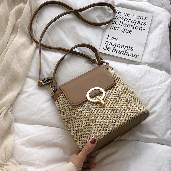 Small Straw Bucket Bags For Women 2019 Summer Crossbody Bags Lady Travel Purses and Handbags Female Shoulder Messenger Bag