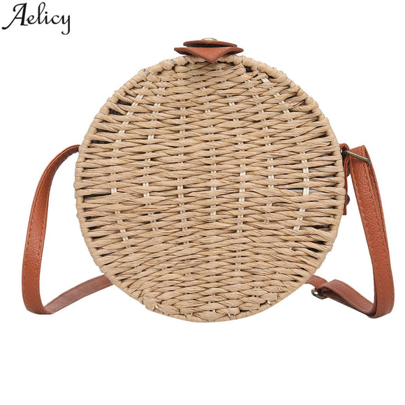 Aelicy Women's Chic Stylish Circular Straw Messenger Bag Lady Fashion Versatile Simple Traveling Crossbody Bag With Button New
