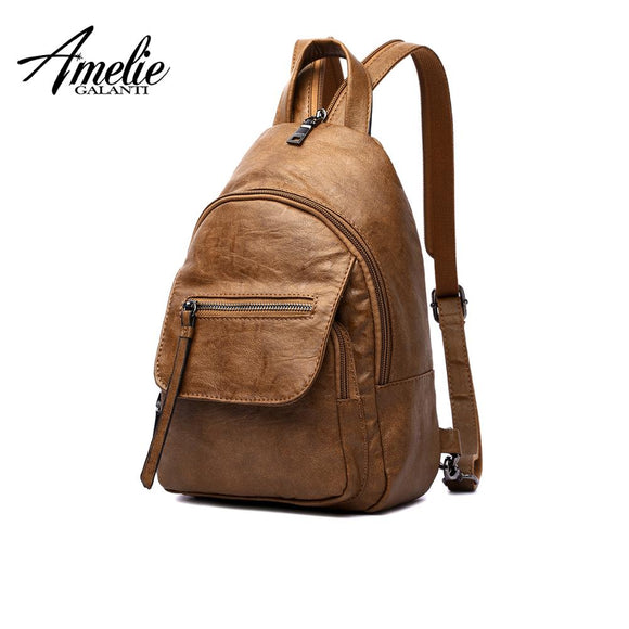 AMELIE GALANTI Luxury Leather Women Backpack Travel Mini Backpack Mochilas School Bags Women Shoulder Bag Fashion Lady Backpack