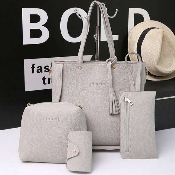 Women Bags Set Tote Handbag +Shoulder Bag +Messenger blosa +Day Clutch Four Pieces Tote Bag Crossbody Wallet Bags#5%