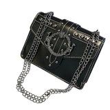 Women Korean Punk Rivet Bag Ladies PU Crossbody Girl Fashion Shoulder Bag Small Chain Messenger Bags Square Package #L
