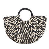 Aelicy Summer Fashion Satchel Black And White Weaving Women Beach Seaside Straw Handbag Lady Travel Color Woven Tote Bag New