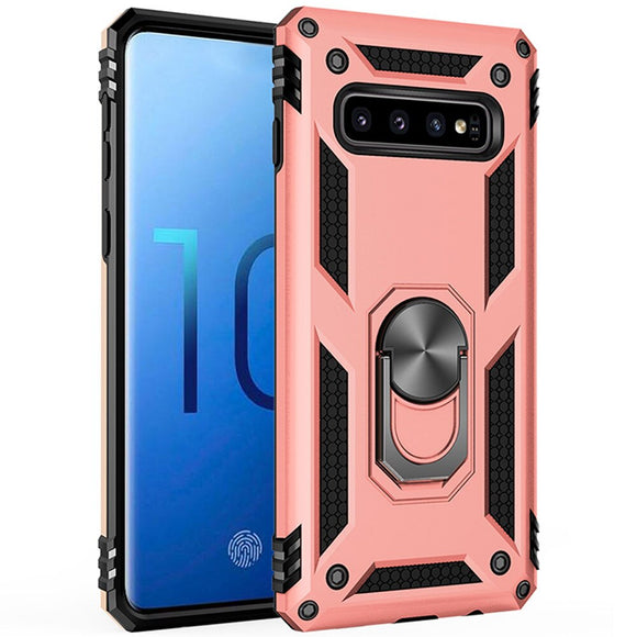 For Samsung Galaxy S10 S10e Lite S10+ Plus Case Dual Layer Military Armor Case Magnetic Ring Stand Shockproof Hard Back Cover
