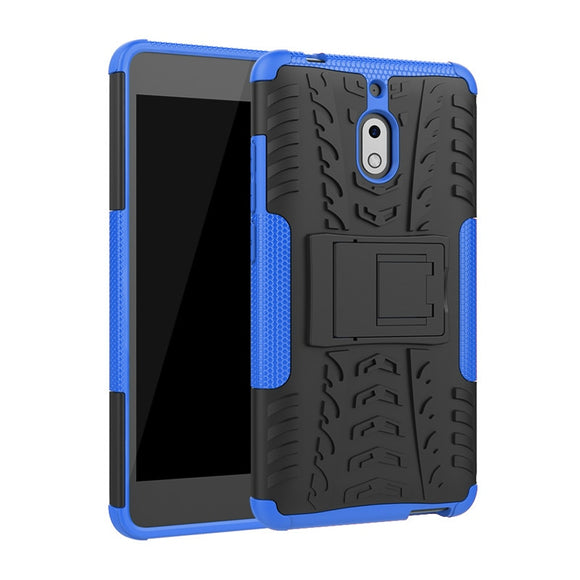 For Nokia 2.1/LG G8 ThinQ Case Dual Layer Tire Pattern Kickstand Armor Shockproof Cover