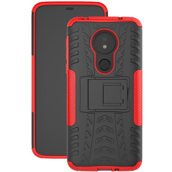 For Motorola Moto G7 Power/G7 Play Case Dual Layer Tire Pattern Shockproof Armor Cover With Kickstand