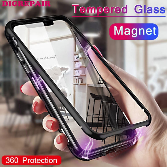 Metal Magnetic Case for iPhone 7 8 Plus X  XR XS MAX  +Tempered Glass Back Magnet Cases Cover for iPhone 7 8 Plus Case cover NEW