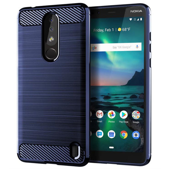 For Nokia 3.1 Plus Case Slim Thin Carbon Fiber Brushed TPU Gel Case Shockproof Anti Fingerprint/Scratch Cover For Nokia 3.1 Plus