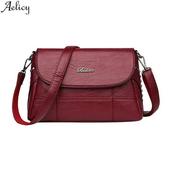 Aelicy Women Casual Single Shoulder Bag Crossbody Mommy Pack Cell Phone Pocket Satchels Pu Leather Solid Women Bag Hot Sales