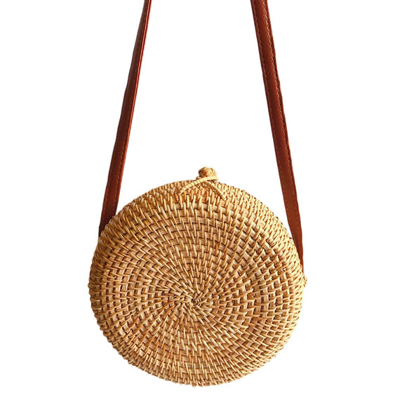 Transer Circle Handwoven Bali Round Retro Rattan Straw Beach Bag Crossbody Travel play shoulder bags drop shipping *//