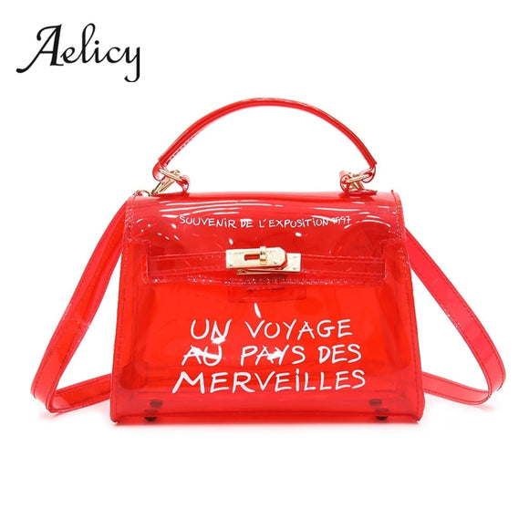 Aelicy Summer Style Handbag Women Fashion Transparent Satchel 2019 New Jelly Shoulder Bag Female Clear Plastic Tote Top Handle