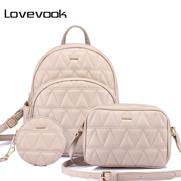Backpack women PU leather schoolbag for girl teenager backpack female crossbody bag purse for coins bag set 2019 Lovevook