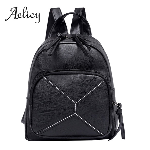 Aelicy Black Simple Backpack Women Luxury Fashion Waterproof Leather Shoulder Bag Mummy Shallow Mouth Bag Female