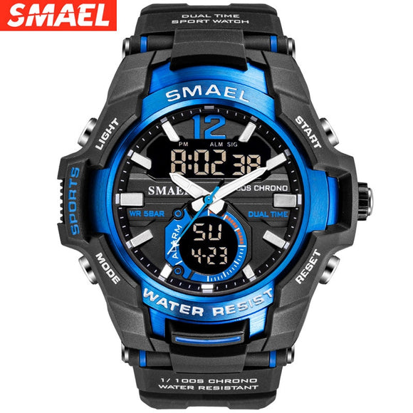 SMAEL Watches Men Sport Watch Man Big Clock Military Watch luxury Army relogio masculino Alarm LED Digital Watch Waterproof