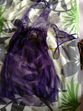 Women's Sexy Sheer Deep V-neck Halter Babydoll Sleepwear Nightwear + G-string (Color: Purple)