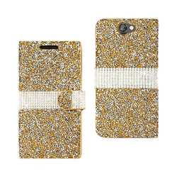 REIKO HTC ONE A9 JEWELRY RHINESTONE WALLET CASE IN GOLD