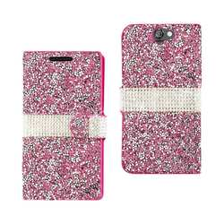 REIKO HTC ONE A9 JEWELRY RHINESTONE WALLET CASE IN PINK