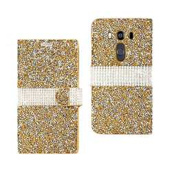 REIKO LG V10 JEWELRY RHINESTONE WALLET CASE IN GOLD