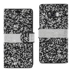 REIKO SAMSUNG GALAXY S8 EDGE/ S8 PLUS DIAMOND RHINESTONE WALLET CASE IN BLACK