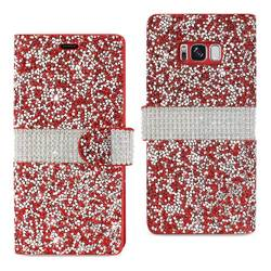 REIKO SAMSUNG GALAXY S8 EDGE DIAMOND RHINESTONE WALLET CASE IN RED