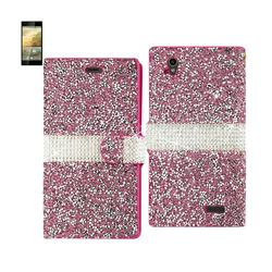 REIKO ZTE WARP ELITE JEWELRY RHINESTONE WALLET CASE IN PINK