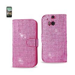 REIKO HTC ONE M8 JEWELRY DIAMOND RHINESTONE WALLET CASE IN PINK