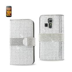 REIKO KYOCERA HYDRO ICON JEWELRY DIAMOND RHINESTONE WALLET CASE IN SILVER