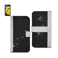 REIKO MOTOROLA MOTO E (2015) JEWELRY DIAMOND RHINESTONE WALLET CASE IN BLACK