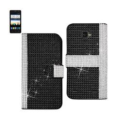REIKO ZTE SONATA 2 JEWELRY DIAMOND RHINESTONE WALLET CASE IN BLACK