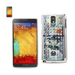 REIKO SAMSUNG GALAXY NOTE 3 STUDDED PLATING RIVETS US $100 BILL PATTERN DESIGN CASE IN SILVER