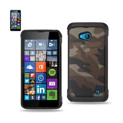 REIKO NOKIA LUMIA 640 HYBRID LEATHER CAMOUFLAGE CASE IN BROWN
