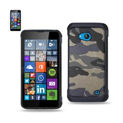 REIKO NOKIA LUMIA 640 HYBRID LEATHER CAMOUFLAGE CASE IN NAVY