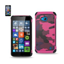 REIKO NOKIA LUMIA 640 HYBRID LEATHER CAMOUFLAGE CASE IN PINK