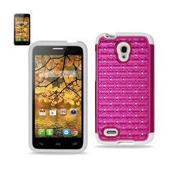 REIKO ALCATEL ONE TOUCH CONQUEST HYBRID HEAVY DUTY JEWELRY DIAMOND CASE IN WHITE HOT PINK