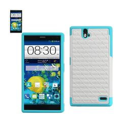 REIKO ZTE GRAND X MAX HYBRID HEAVY DUTY JEWELRY DIAMOND CASE IN BLUE WHITE
