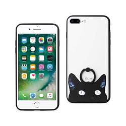 REIKO IPHONE 7 PLUS CAT DESIGN CASE WITH ROTATING RING STAND HOLDER