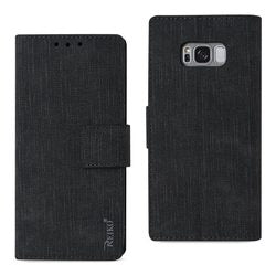 REIKO SAMSUNG S8 EDGE/ S8 PLUS DENIM WALLET CASE WITH GUMMY INNER SHELL AND KICKSTAND FUNCTION IN BLACK