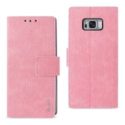 REIKO SAMSUNG S8 EDGE/ S8 PLUS DENIM WALLET CASE WITH GUMMY INNER SHELL AND KICKSTAND FUNCTION IN PINK