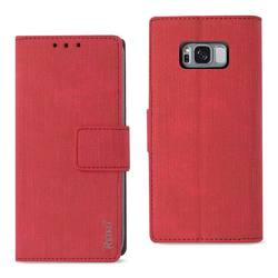 REIKO SAMSUNG S8 EDGE/ S8 PLUS DENIM WALLET CASE WITH GUMMY INNER SHELL AND KICKSTAND FUNCTION IN RED