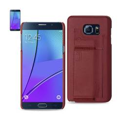 REIKO SAMSUNG GALAXY NOTE 5 RFID GENUINE LEATHER CASE PROTECTION AND KEY HOLDER IN BURGUNDY