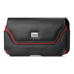 REIKO LEATHER HORIZONTAL POUCH SAMSUNG GALAXY NOTE 2 N7100 WITH RED BEE NEST INTERIOR IN BLACK (6.34x3.57x0.77 INCHES PLUS)