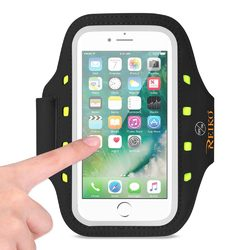 REIKO RUNNING SPORTS ARMBAND FOR IPHONE 7 PLUS/ 6S PLUS OR 5.5 INCHES DEVICE WITH LED IN BLACK (5.5x5.5 INCHES)