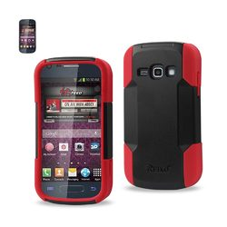 REIKO SAMSUNG GALAXY RING HYBRID HEAVY DUTY CASE IN RED BLACK