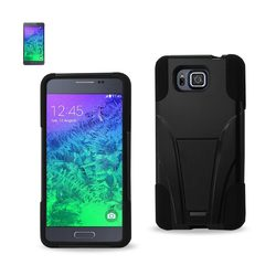 REIKO SAMSUNG GALAXY ALPHA HYBRID HEAVY DUTY CASE WITH KICKSTAND IN BLACK