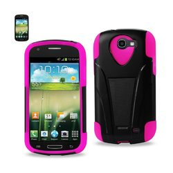 REIKO SAMSUNG GALAXY EXPRESS HYBRID HEAVY DUTY CASE WITH KICKSTAND IN HOT PINK BLACK